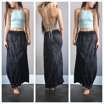 An Acid Wash Drawstring Maxi Skirt in Black