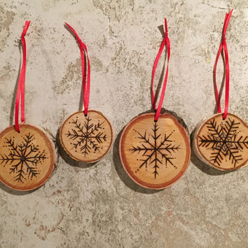 Wood-burned Snowflake Ornaments - Set of 4