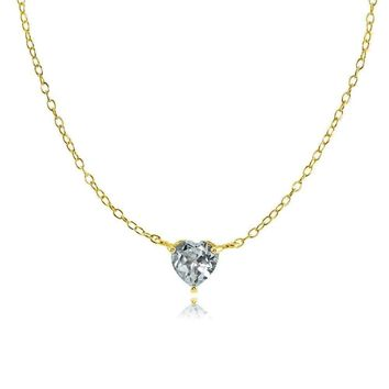 Dainty Aquamarine Small Heart Choker Necklace in Gold Plated Sterling Silver