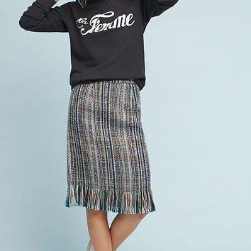 Fringed Tweed Pencil Skirt