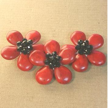 AB-0117 - Red Howlite Triple Flower Centerpiece With Black Chinese Crystals, 1-1/2x4 Inches | Pkg 1