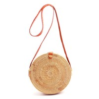 Round Straw Beach Bag Girls Circle Rattan bag Small Bohemian Shoulder bag Summer 2017 Vintage Handmade Crossbody Leather Bag