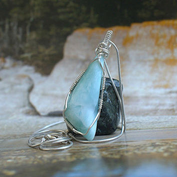 Genuine Larimar gemstone pendant silver wire wrapped free form with necklace