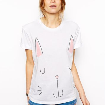 ASOS T-Shirt with Cat Print - White/pink
