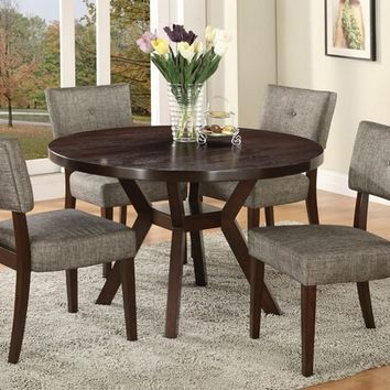 "Acme 16250 5 pc drake espresso finish wood 48"" round dining table set"
