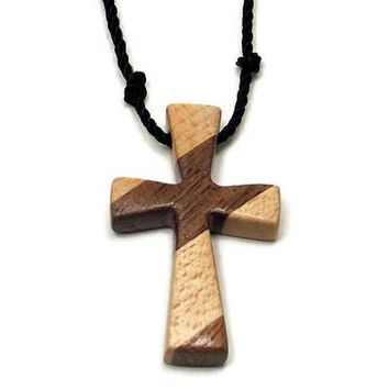 Men's Cross Necklace, Cross Pendant Necklace, Mens Jewelry Cross, Religious Pendant, Wood Cross Necklace, Maple & Walnut Cross Pendant
