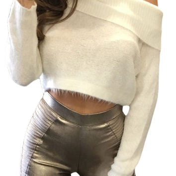Off Shoulder Faux Marten Knit Sweater