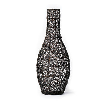 New Rustics Furniture Company PWRV Patina Metal Black Woven Rattan Vase