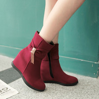 Hot Deal On Sale Autumn Casual Height Increase Rhinestone Tassels Decoration Plus Size Boots [6366201220]