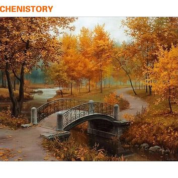 CHENISTORY Autumn Landscape DIY Painting By Numbers Kits Drawing Painting By Numbers Acrylic Paint On Canvas For Room Artwork
