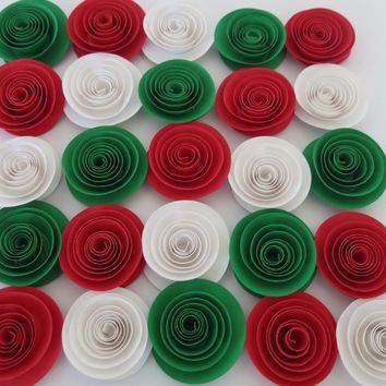 "Italian Restaurant Decorations, Red White and Green paper flowers set of 24, 1.5"" table centerpiece decor, Italy flag colors, Mexican wedding gift"