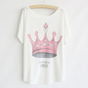 New Womens Batwing Short Sleeve Graphic Printed T Shirt Tee Tops (Color: White) = 1945752900