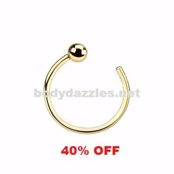14K Ball Nose Hoop Ring Solid Yellow Gold 20ga Black Friday Cyber Monday