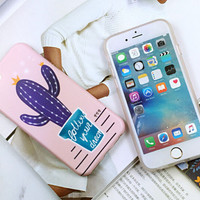 Purple cactus mobile phone case for iphone  6 6s 6plus 6s plus + Nice gift   box!