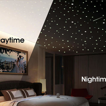 Ceiling Stars, Star Scene, Stars and Moon Scene, Glow Stars, Glowing Stars, Glow in the dark stars, Realistic glow stars, Removable stars