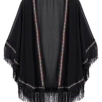 Women Tassels Fringed Cuff Hem Sunscreen Chiffon Cardigan