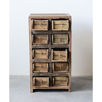 Found Wood Brick Mold Cabinet | 10 Drawers 28-in