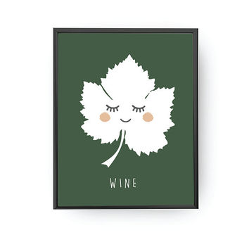 Wine Leaf Letters, Plant Poster, Classroom Art, Nursery Decor, Learning Plants, Kids Print, Lettering Art, Kids Decor, Children Education