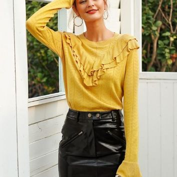 Knit Delilah Ruffled LongSleeve - Yellow