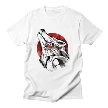 Princess Mononoke Tshirts Cotton Women Design Short Sleeve Casual Tops Harajuku Fashion Kawaii Sweet White  Shirts Women 2018