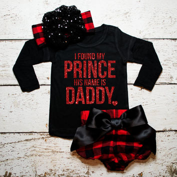 Baby Girl Clothes I Found My Prince His Name Is Daddy Shirt Gold Baby Girl Shirt Hipster Baby Clothes Baby Gift *Shirt Only* #39