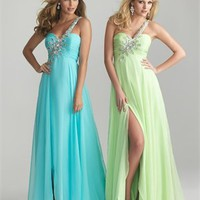 One Shoulder Empire Ruched Beaded Chiffon Prom Dress PD2095
