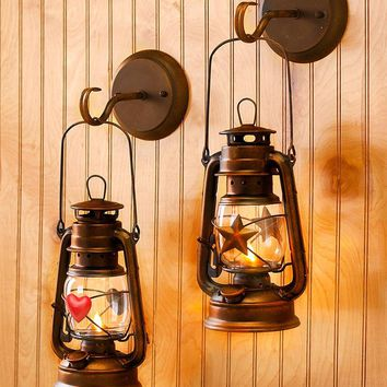 Hanging Country Wall Lantern Heart or Star Antique Look Remote Controlled