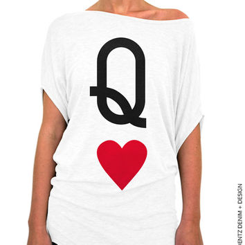 Queen of Hearts - White Longer Length Slouchy Tee (Small - Plus Sizes)
