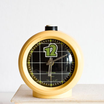 Alarm Clock, Soviet Desk Clock, Jantar Soviet Union Home Decor, Office Decor Plastic Case, Black and Appricot Beige, Nude, Spring ohtteam