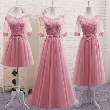 Vestidos New Dusty Pink Bridesmaid Dress Half Sleeved Lace Embroidery Long Elegant Bride Wedding Prom Party Gown Robe De Soriee