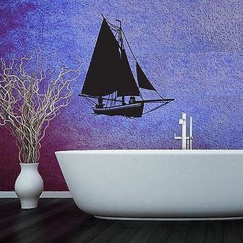 Wall Stickers Vinyl Decal Ocean Marine Yacht Sailboat for Bathroom Unique Gift (ig916)