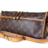 Auth LOUIS VUITTON Popincourt Long Monogram canvas, Leather Shoulder Bag M40008
