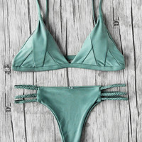 Braided Strap Side Cutout Seam Bikini Set -SheIn(Sheinside)