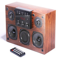 wooden bookshelf music fans hifi speaker retro snob design 30w output ape flac decode with RC FM support usb line in RCA