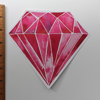 Large Vinyl Sticker, Pink Diamond, Diamond, Bumper sticker, laptop sticker, vinyl sticker, large sticker, diamond sticker, watercolor, art