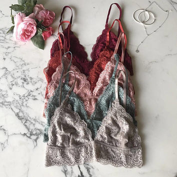 Gorgeous lace triangle bralette floral lace bra lacy bralette scalloped hem bralette adjustable sheer bralette