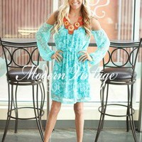 Soft Turquoise Lace Explorer dress - Modern Vintage Boutique