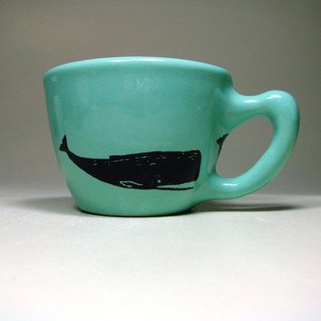 12oz cup whale blue green  Made to Order / Pick by CircaCeramics