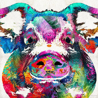 Colorful Pig Art - Squeal Appeal - By Sharon Cummings
