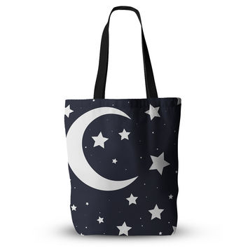 "KESS Original ""Moon & Stars"" Black White Everything Tote Bag"