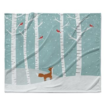 "Cristina bianco Design ""Fox Cardinals Winter"" Blue Kids Fleece Throw Blanket"