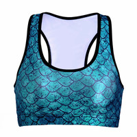 Mermaid Blue/Green Fish Scale Sports Bra