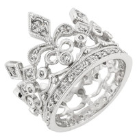 Cubic Zirconia Crown Eternity Ring, size : 10