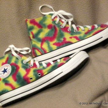 Converse Shoes Men size 10 Hi-Top Tie Dye Rasta Colors