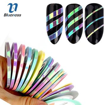 Blueness 3Pcs/6Pcs Nail Striping Tape Line Stickers Mermaid Candy Color Design Adhesive Nail Roll Decals For Manicure DIY Tools