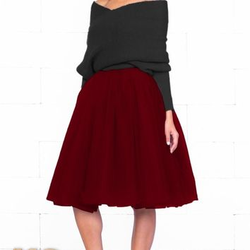 7 Layer On Pointe Burgundy Wine Red Tulle Pleated Ballerina A Line Full Midi Skirt