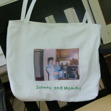 Custom Embroidered Personalized Photo Fabric Tote Bag