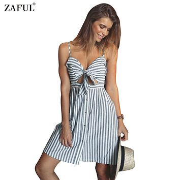 ZAFUL women summer dresses Cotton and linen Backless strapless spaghetti strap dress Blue striped casual Feminino vestidos