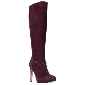 Nine West Pearson Wide-Calf Knee High Boots, Dark Red, 5.5 US