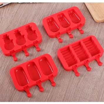 3 holes Oval Ellipse Shape Silicone Ice Cream Mold Rabbit Popsicle Molds Ice Tray Cube Tools Frozen Ice Lolly Maker Holder